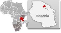 Map of Tanzania with a highlight of Ngorongoro Crater