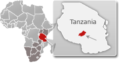 Map of Tanzania with a highlight of Ruaha National Park