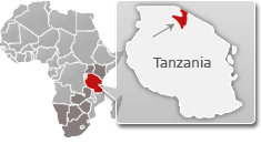 Map of Tanzania with a highlight of Serengeti National Park