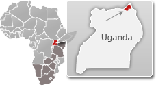 Map of Uganda with a highlight of Kidepo Valley National Park