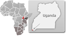 Map of Uganda with a highlight of Mgahinga Gorilla National Park