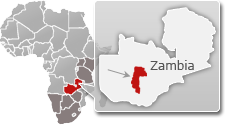 Map of Zambia with a highlight of Kafue National Park