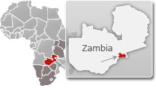 Map of Zambia with a highlight of Lower Zambezi National Park