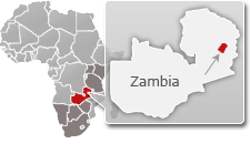 Map of Zambia with a highlight of North Luangwa National Park