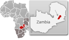 Map of Zambia with a highlight of South Luangwa National Park