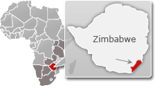 Map of Zimbabwe with a highlight of Gonarezhou National Park
