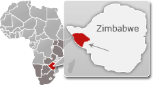 Map of Zimbabwe with a highlight of Hwange National Park