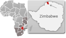 Map of Zimbabwe with a highlight of Mana Pools National Park