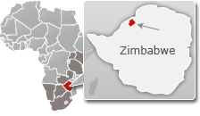 Map of Zimbabwe with a highlight of Matusadona National Park