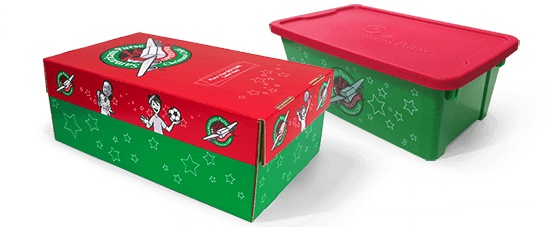 Christmas Shoebox.Order Preprinted Shoeboxes