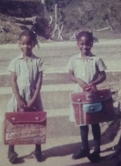 Shanika and Sherika childhood photo, going to school