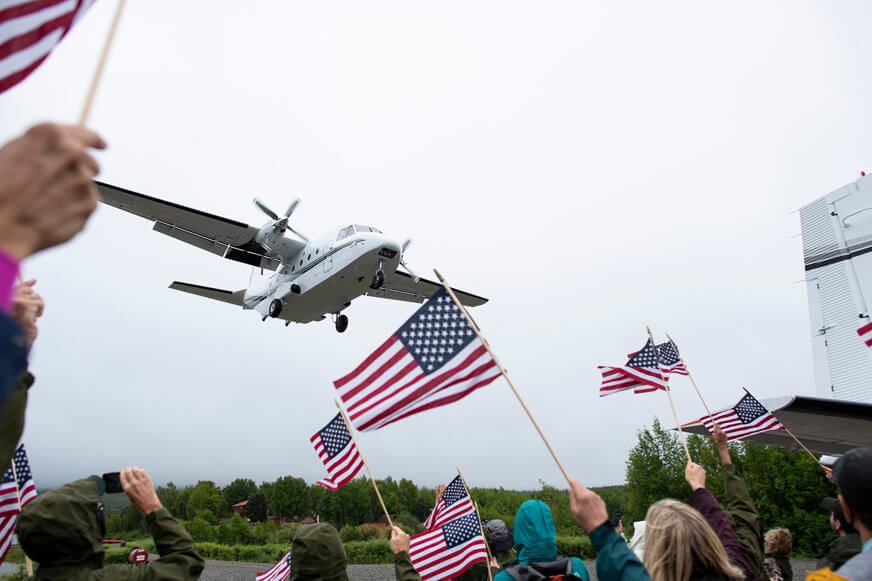 Patriot couples are enthusiastically welcomed to Samaritan Lodge Alaska as they arrive by plane from Anchorage.