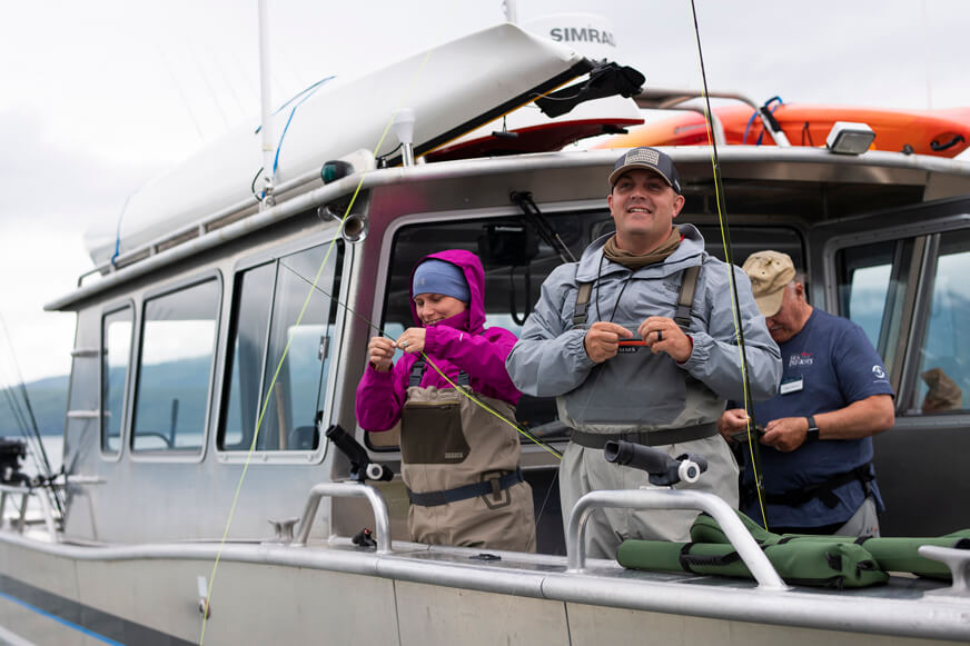 Military couples enjoyed a day fly fishing from our boat the Jay Hammond on Lake Clark during the first week of the 2020 Operation Heal Our Patriots summer season in Alaska.