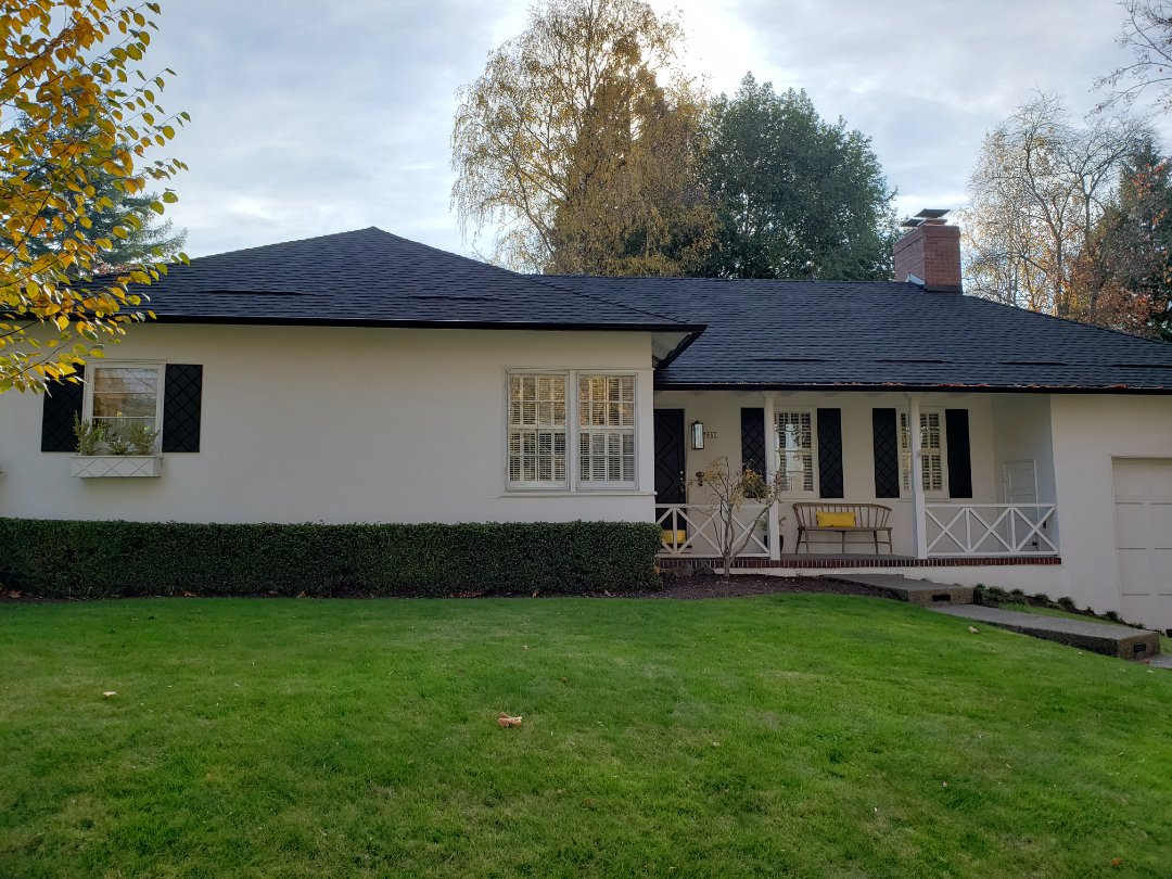 Portland, OR - Complete roof replaced in GAF Timberline HD with all new plywood. Includes K5 black gutters to go with the charcoal roof. We also completed a custom bathroom remodel with new vanity and marble tile flooring.