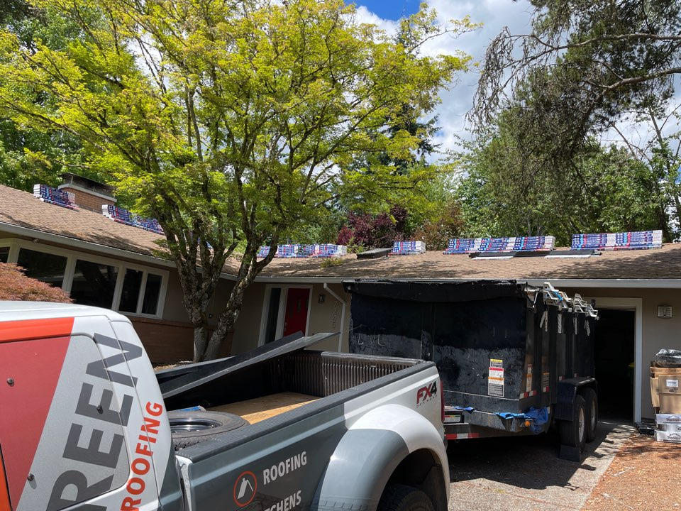 Portland, OR - Starting another GAF roof in Portland by Evergreen Renovations and Roofing. Siding kitchen remodeling bath remodeling. Additions ADU. Roofing contractor
