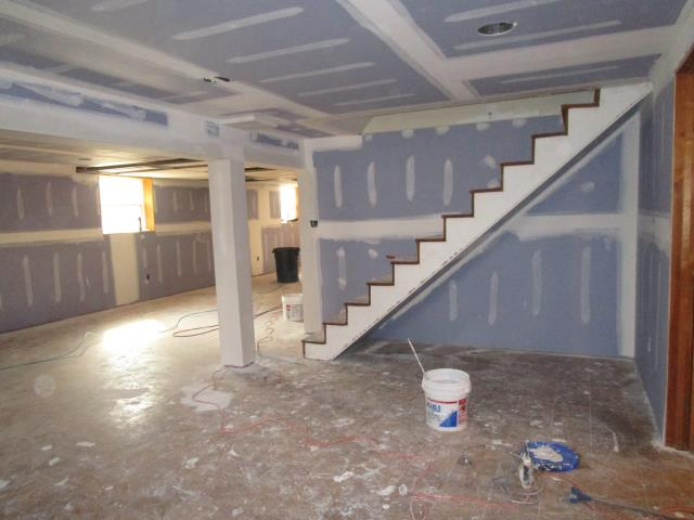 Cherry Hill, NJ - A progress picture from our Cherry Hill basement remodeling project, all the paneling is gone and as you see the drywall is up, check back for more updates!