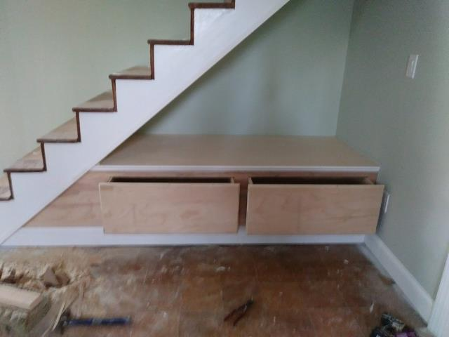 Cherry Hill, NJ - At our Cherry Hill basement remodel, the built-in reading nook under the stairs is starting to take shape!