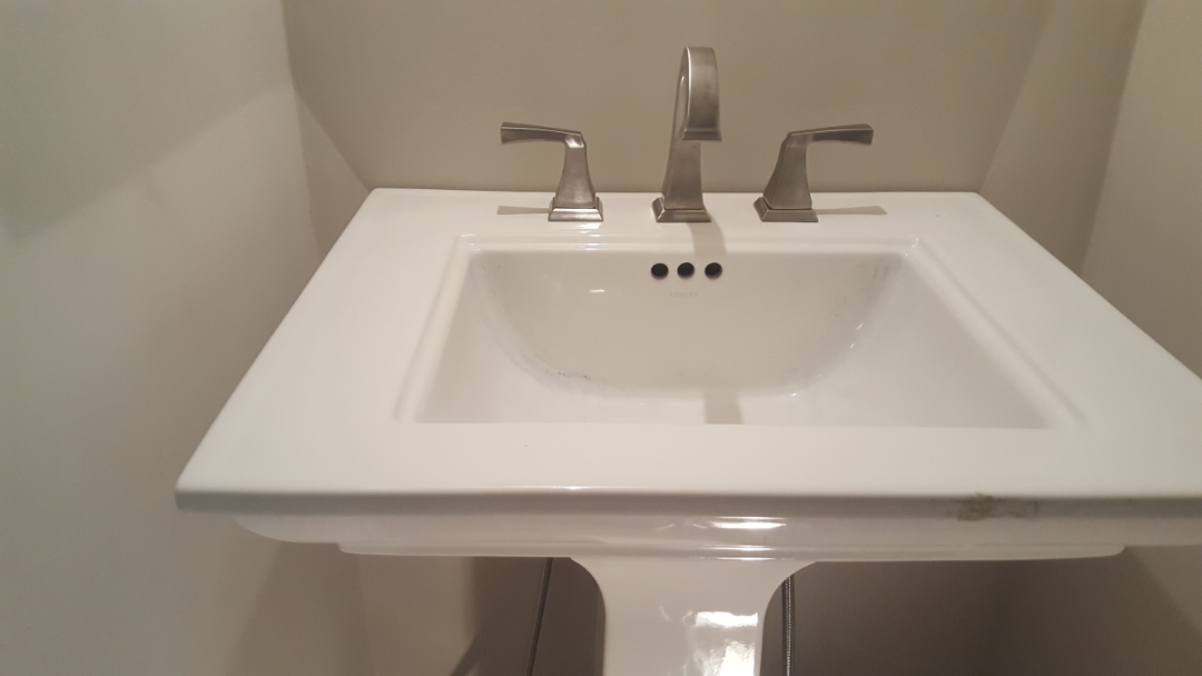 Mount Laurel Township, NJ - Beautiful new white pedestal sink and stainless steel faucet
