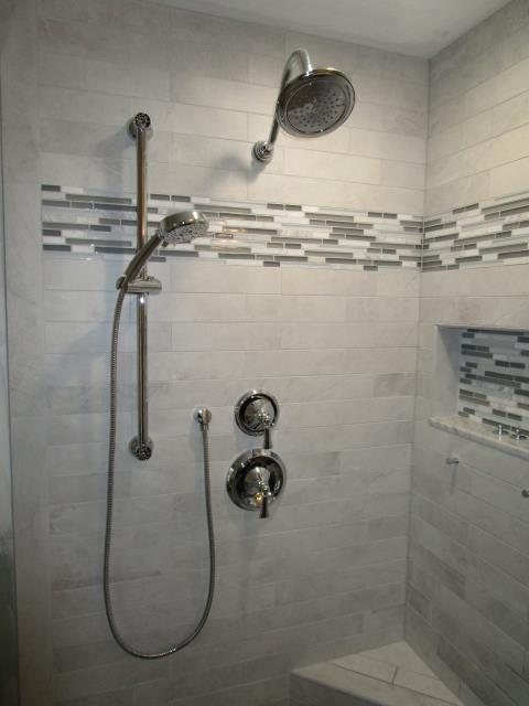 Medford, NJ - Finishing touches being applied to our bathroom project in Medford.  I'm loving that tile!