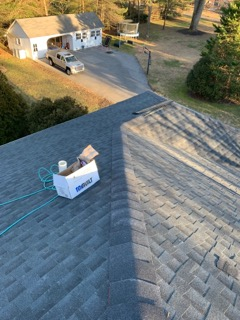 "Moorestown, NJ - Beautiful new GAF HD roof going on for our clients in Moorestown.  ""Charcoal"" color selection.  Snow Country ridge caps."