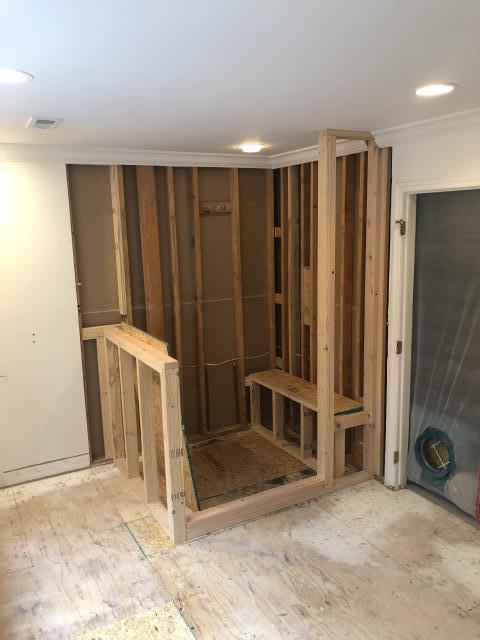 Medford, NJ - At our master bathroom project in Medford, here you can see the beginnings of what will be an awesome new shower.  The bench, knee wall, and privacy wall have all been framed.  Check back for more, you're not going to forget this one!