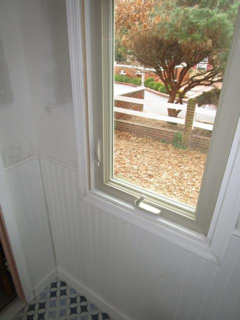 Haddonfield, NJ - A bathroom in progress with beautiful new wainscot and windows.