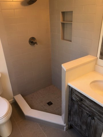 Shamong, NJ - Newly done petite full bathroom, gutted and started new, enlarged existing shower.