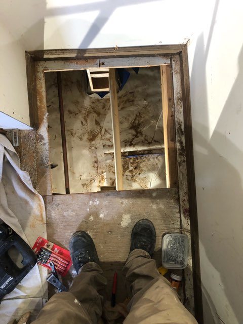 Medford Lakes, NJ - Most jobs never start off pretty but when you want to move  your laundry room, you have reroute the pipes and putting holes in the floor are necessary.