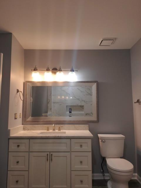 Mount Laurel Township, NJ - 1/2 of a full bathroom that we did a tub to shower conversion, with a new vanity and toilet. That vanity is gorgeous.