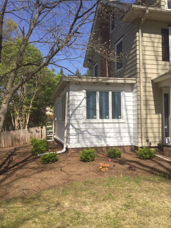 Haddonfield, NJ - Porch conversion almost complete!  We squeezed a beautiful office, powder room and mud room out of the existing footprint.