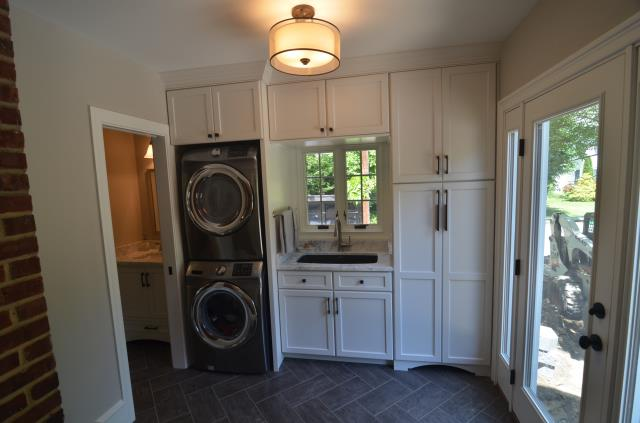 Haddonfield, NJ - We completed a very interesting porch conversion a few weeks back.  This space was a little challenging to design but the end results are amazing!  The mudroom is fully functional and we were even able to add a powder room and small office.  What a fun remodeling project.