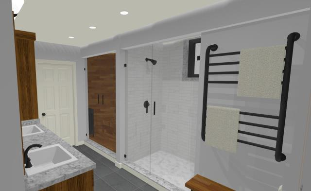 Moorestown, NJ - Our client was looking for a Finished Basement with a full three piece bath.  We were able to provide that in our first concept drawing and also squeeze in their request for a sauna.