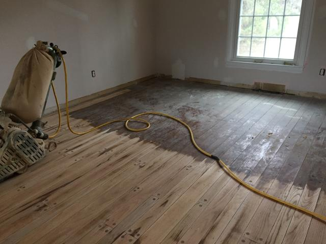 Medford Lakes, NJ - Hardwood floor refinishing in Medford Lakes.  First pass complete in this room check back for more updates !