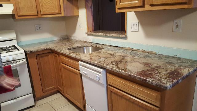 Stratford, NJ - Kitchen rehab project underway in Stratford.  Gorgeous new Bellini Granite installed.  Bold geometric pattern to this stone.