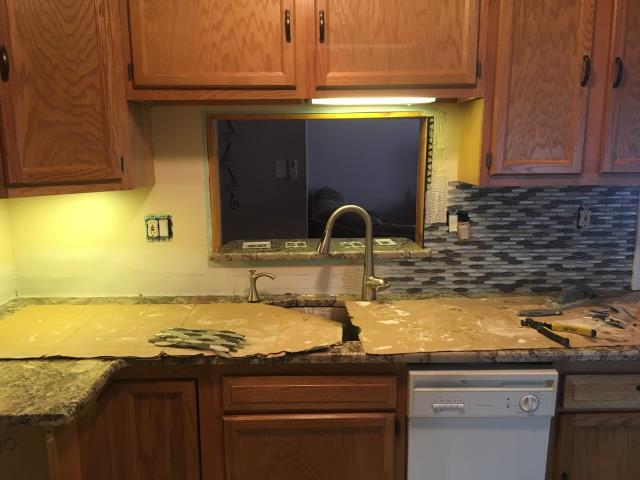 Stratford, NJ - Work started on back-splash installation.  Horizontal pyramid shaped mosaics.  Beautiful !