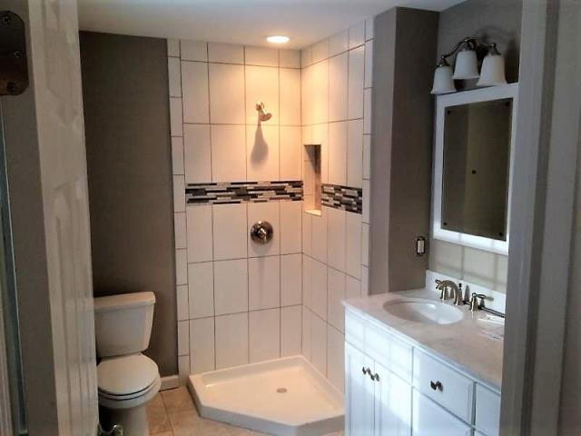 Medford Lakes, NJ - Another view of our remodeled bathroom in Medford Lakes.  A corner shower unit was a perfect fit for this bathroom.