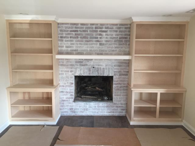 Haddonfield, NJ - In our Haddonfield project, our custom built in cabinetry is looking great surrounding the whitewashed fireplace in the sitting room.