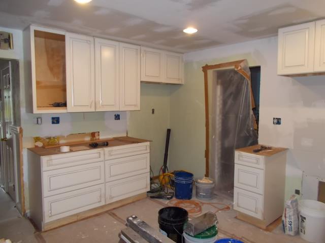 Marlton, NJ - Kitchen cabinet installation has begun in our Marlton kitchen project !