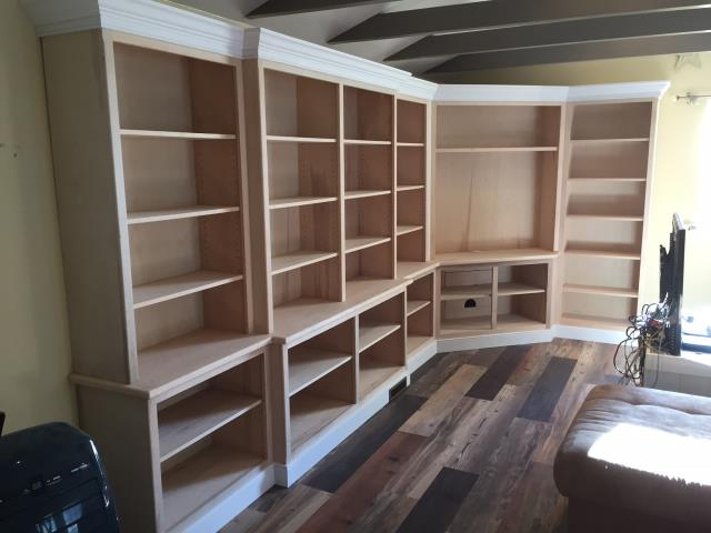 Evesham Township, NJ - In Marlton, we are building custom built-in shelves and cabinets in this living room.  Great work by Nuss carpenters.  Check back for the final pictures !