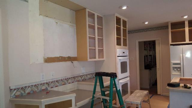 Moorestown, NJ - Demolition has begun on our Moorestown kitchen project !  Forget what you see on TV, no sledgehammers involved here.  Check back for progress reports on this beautiful new kitchen featuring full overlay dove-grey painted cabinets !