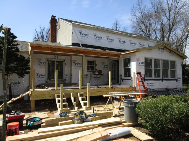 Moorestown, NJ - Our Moorestown project continues to get closer to completion as the covered deck is framed, the family room has been primed, and the rear of the house has been prepared for all new siding. Check back as we complete this project in time for clients to enjoy the Spring !