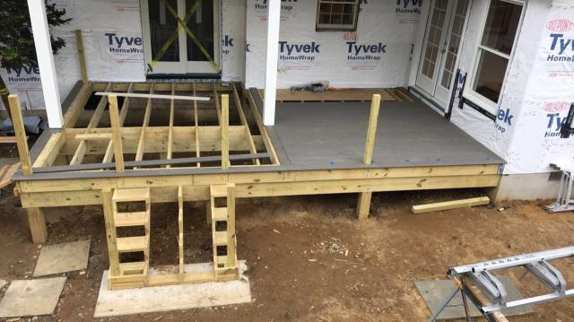 Moorestown, NJ - Our Moorestown addition and covered deck project is gaining speed as we approach completion.  Here you can see the decking has been started.  Our carpenters are doing a particularly fantastic job on this project !