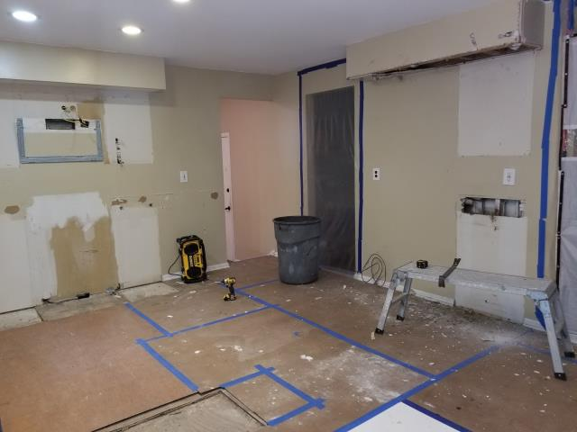 Voorhees Township, NJ - At our Voorhees kitchen project, we started with site protection, and then the demolition.  Don't worry, those soffits are coming out.  Check back more for updates on this kitchen !