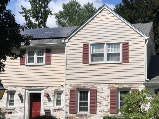 Moorestown, NJ - Close up view of our Moorestown roof and solar job.