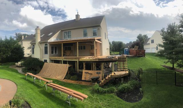 Mount Laurel, NJ - A progress photo from our large deck job in Mt. Laurel.  Check back for more updates this is going to look fantastic when completed !