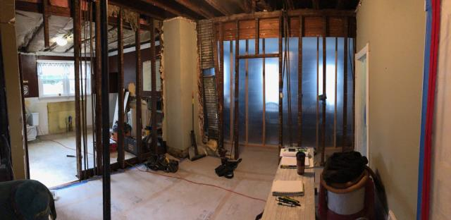 Collingswood, NJ - Our large remodeling project in Collingswood in underway.  Overall there will be 1.5 new baths, a new kitchen, new laundry room, and more !  Here, take a moment to realize the extensive site preparation and containment that the Nuss Carpenters setup PRIOR to demolition.  Great work men !