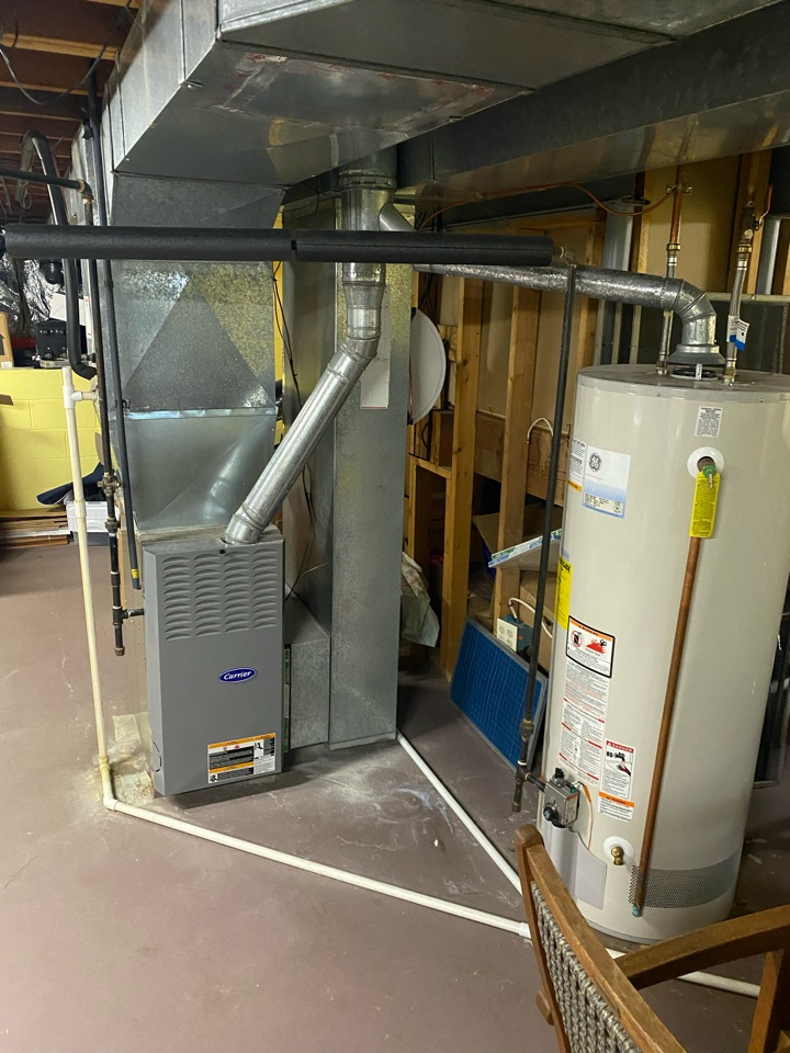 Westerville, OH - Customer has an older 80% gas furnace and wanted cost to replace with high-efficiency furnace.  Propose American standard