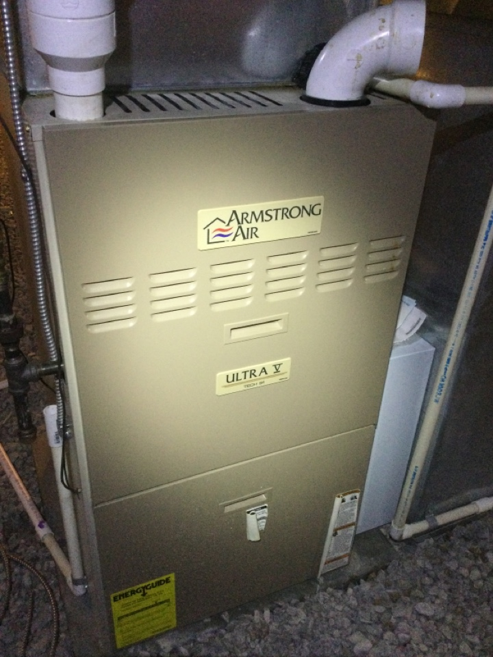 Westerville, OH - Gas supply disconnect to furnace had been turned off for repairs made in basement area. Unit was not heating upon arrival. Work performed on an Armstrong furnace.