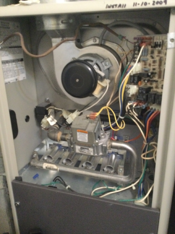 2009 Maytag gas furnace. Found concern with flame sensing system. Flames going out very intermittently. Tried cleaning it and still have issue. Recommended replacing flame sensing system. Showed options on page hm15. Customer chose hm15a. Completed repair and cycled unit. Unit is very clean on the inside and customer keeps up with filters. Performed combustion analysis. 39 ppm CO/ 8.4% O2/ 399 degree stack temp. All okay at this time.