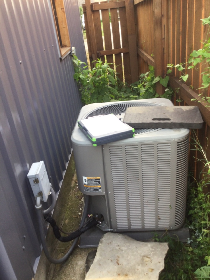 Ac maintenance inspection including cleaning condenser coil, checking electrical connections and and cycling equipment to ensure proper operation.